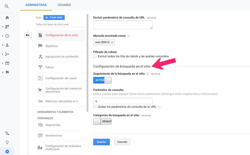 seguimiento de la búsqueda del sitio en Analytics