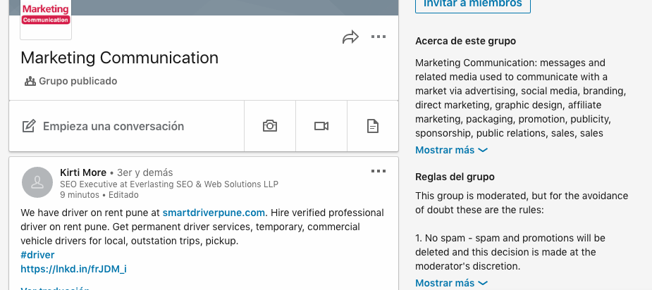 grupo de LinkedIn como forma para conseguir ideas