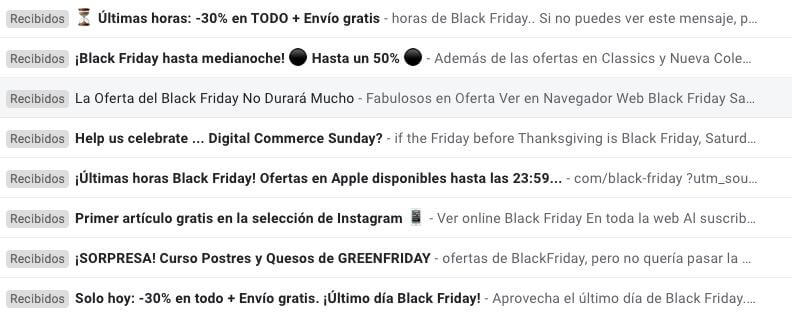 Emails black friday