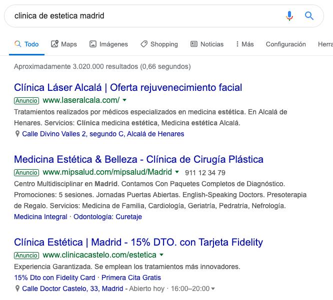 Ejemplo página de resultados Google Ads