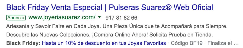 Ejemplo en Google Ads de anuncio de búsqueda para Viernes Negro