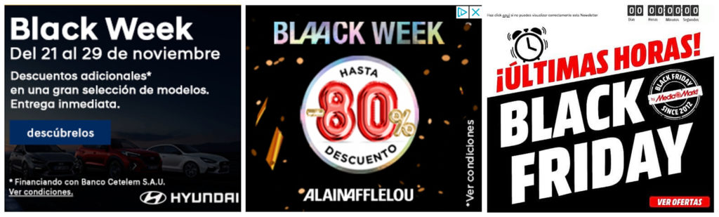 ejemplos de Google Ads Display durante la semana del Black Friday