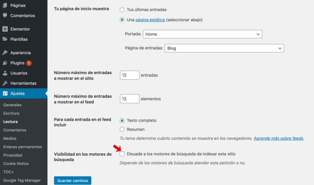 opción de disuadir de la indexación de WordPress