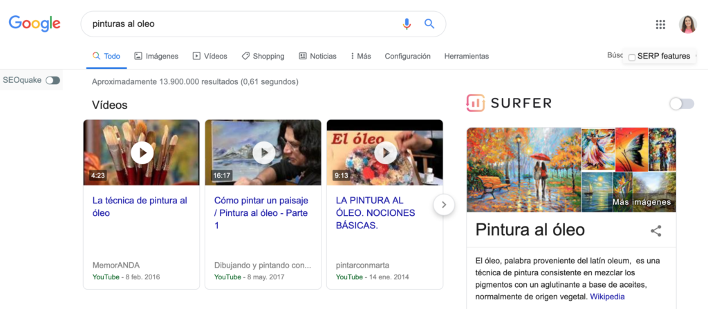 SERP de Google para intención informativa