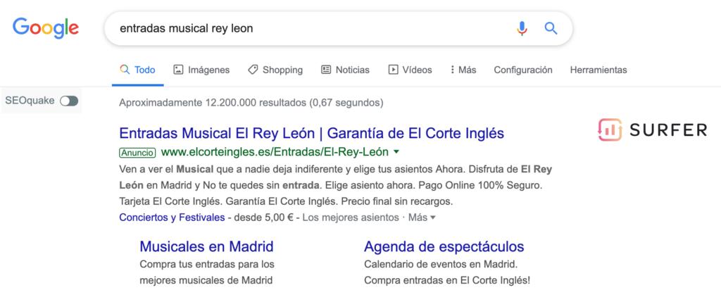 SERP de Google para intención transaccional