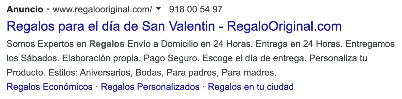anuncios Google Ads San Valentín
