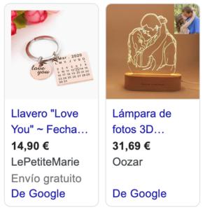 anuncios Google Shopping San Valentín