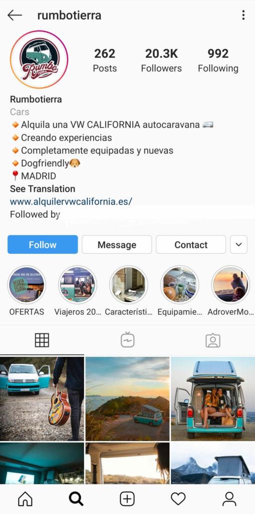 ejemplo marketing turístico en instagram
