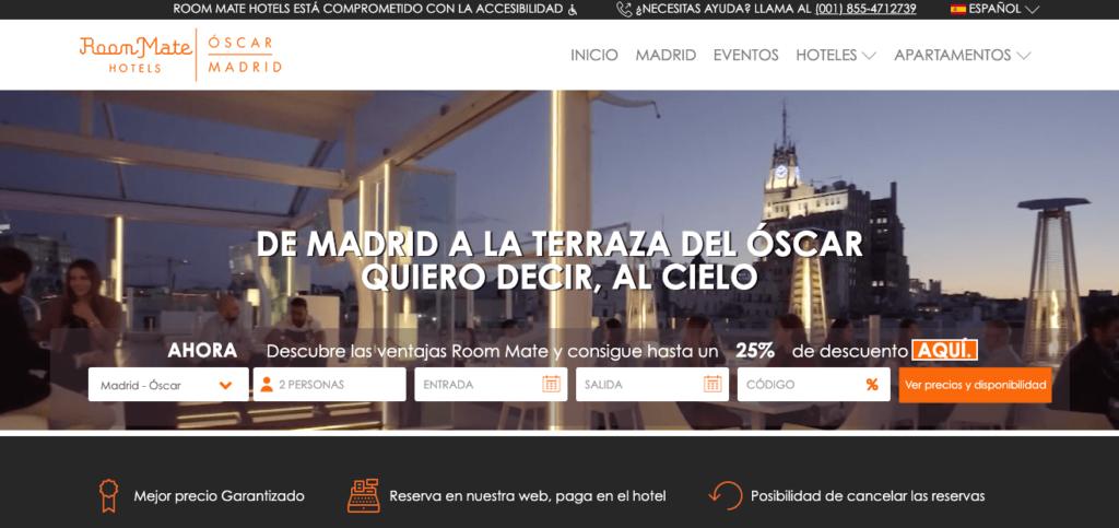 ejemplo página web marketing turismo