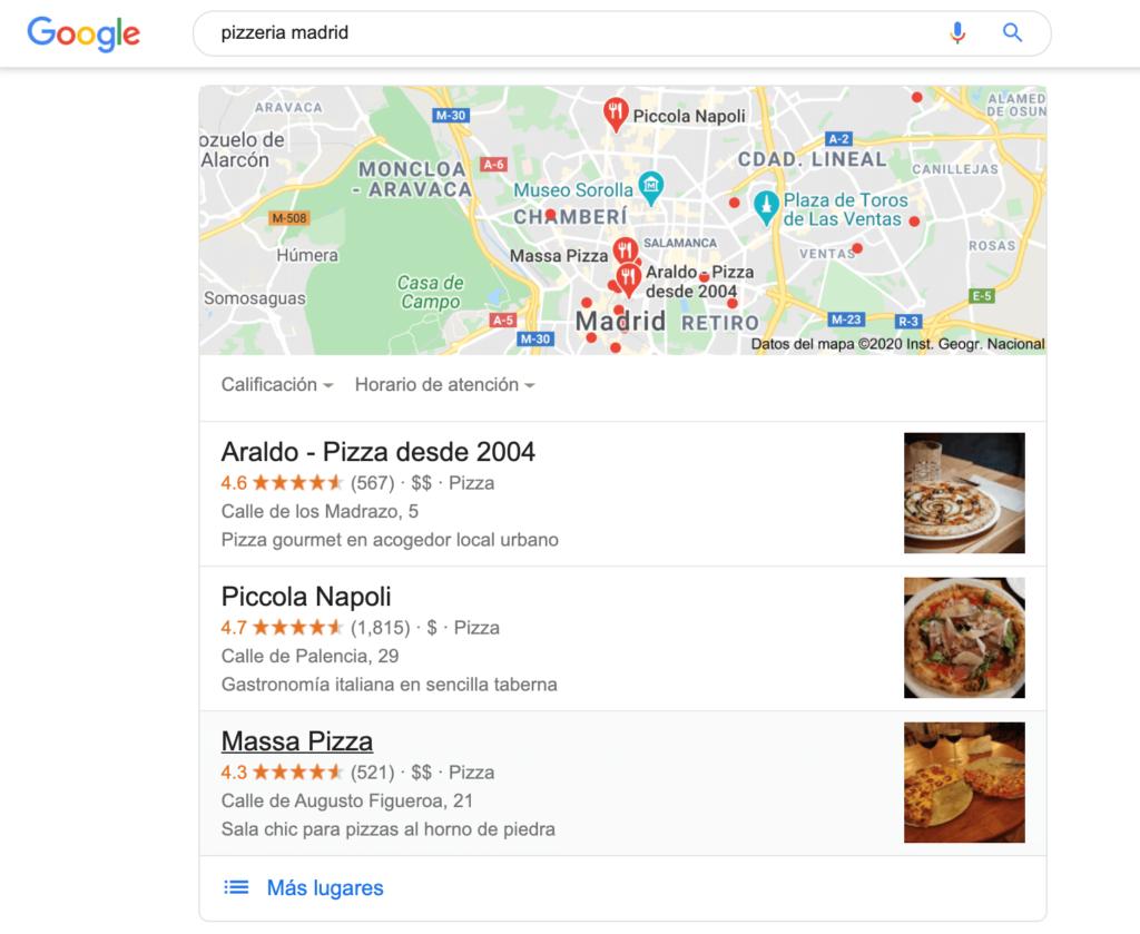 """ejemplo de búsqueda local para """"pizzería Madrid"""""""