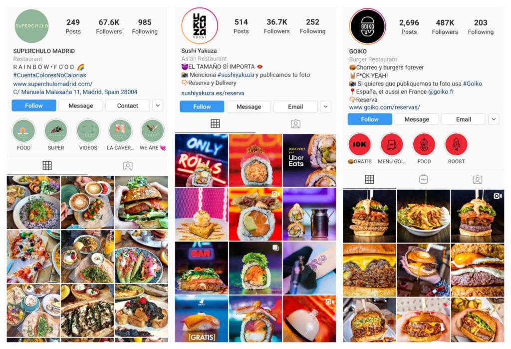 ejemplo de Instagram para restaurantes