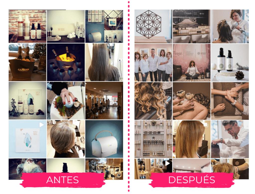 antes y después en el instagram de Pedro Aranda