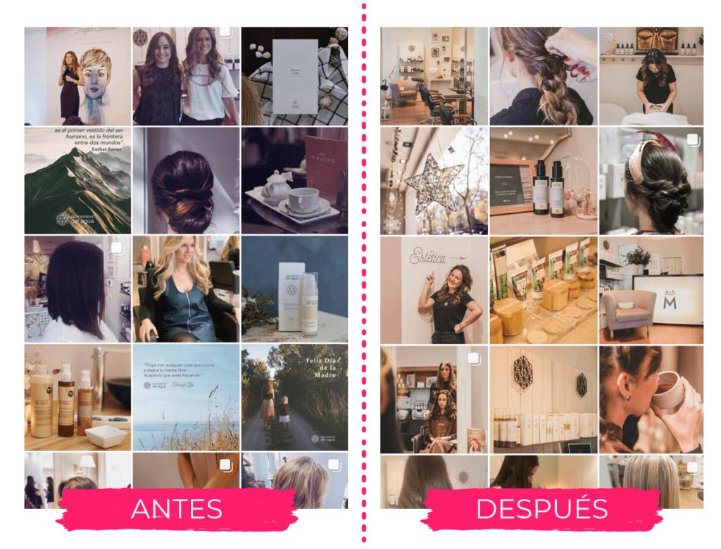 antes y después en el instagram de Salones Mirache