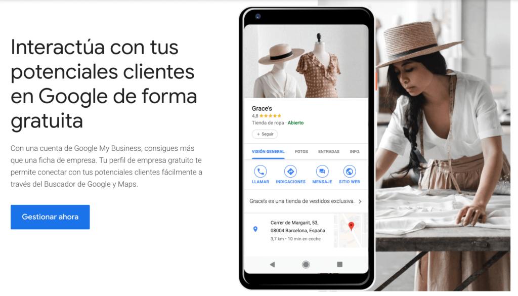 pantalla principal de google my business