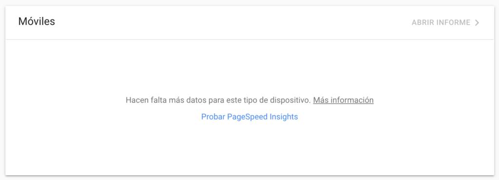 google search console no da info sobre core web vitals