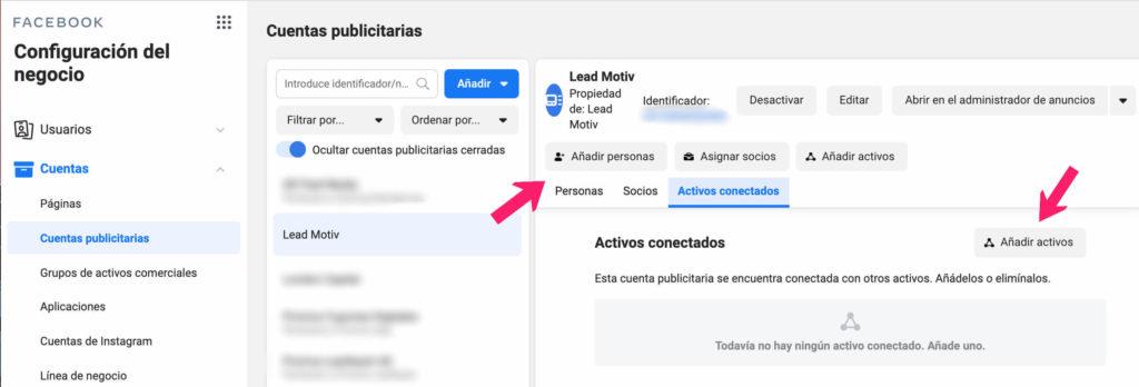 añadir activos en facebook business manager