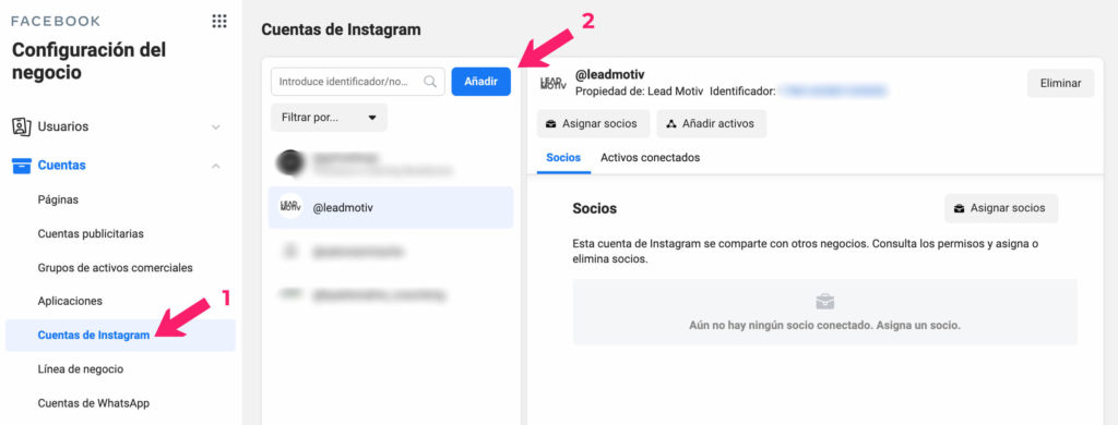 añadir cuenta instagram a business manager