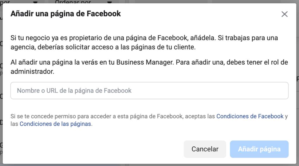 añadir una página de facebook a business manager