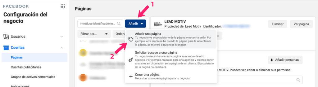cómo añadir página en business manager de facebook