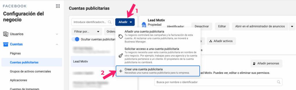 crear cuenta publicitaria facebook ads
