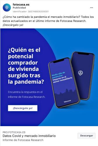 anuncio portal inmobiliario Fotocasa en facebook ads
