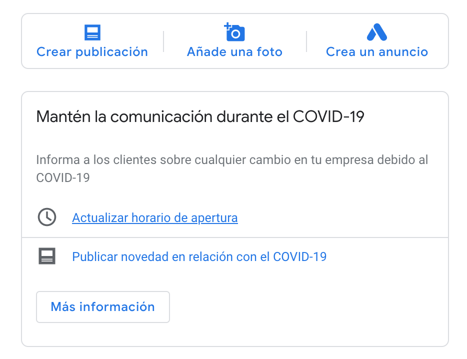 mantén la comunicación durante covid19 mensaje google my business