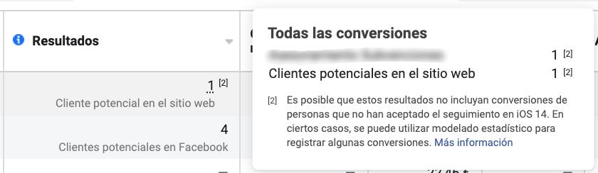 aviso clientes potenciales facebook sobre cambio ios14