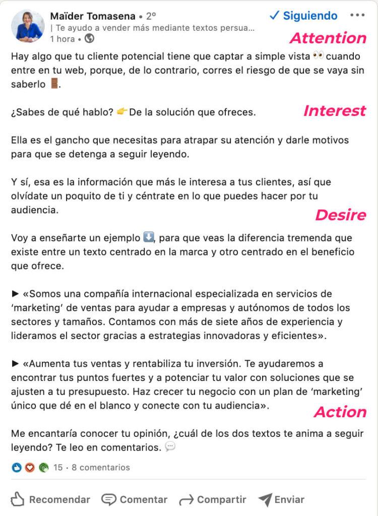 ejemplo modelo AIDA en Linkedin