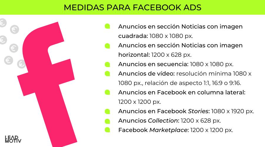 medidas facebook ads