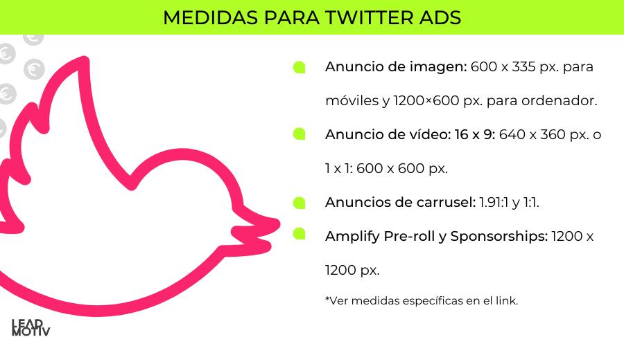medidas twitter ads